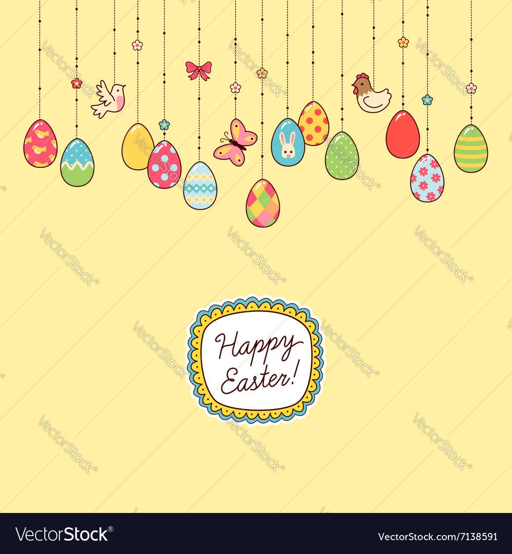 Easter hang eggs yellow