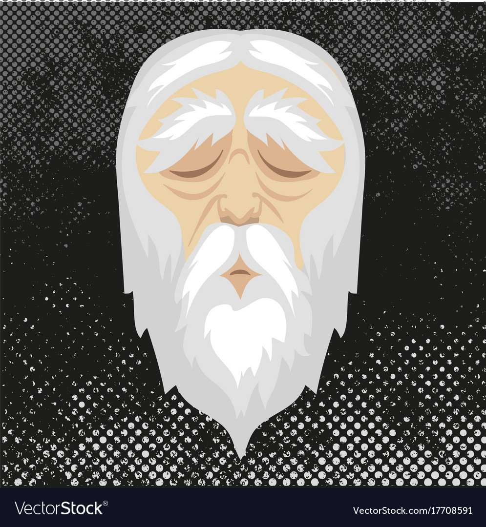 Face old man with closed eyes and white hair