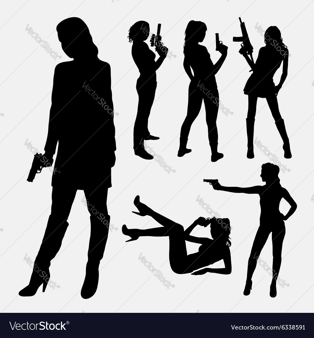 Sexy female gun silhouette vector images 46
