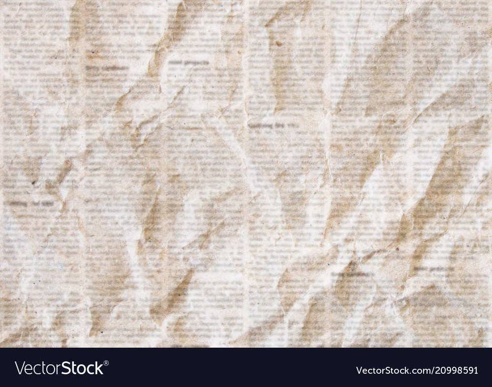 old crumpled newspaper texture background vector image