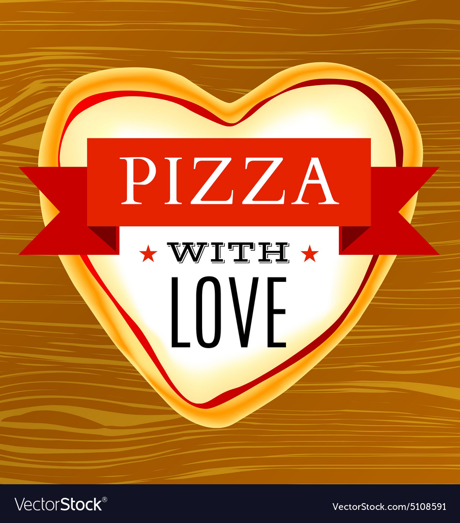 Poster with a heart-shaped pizza