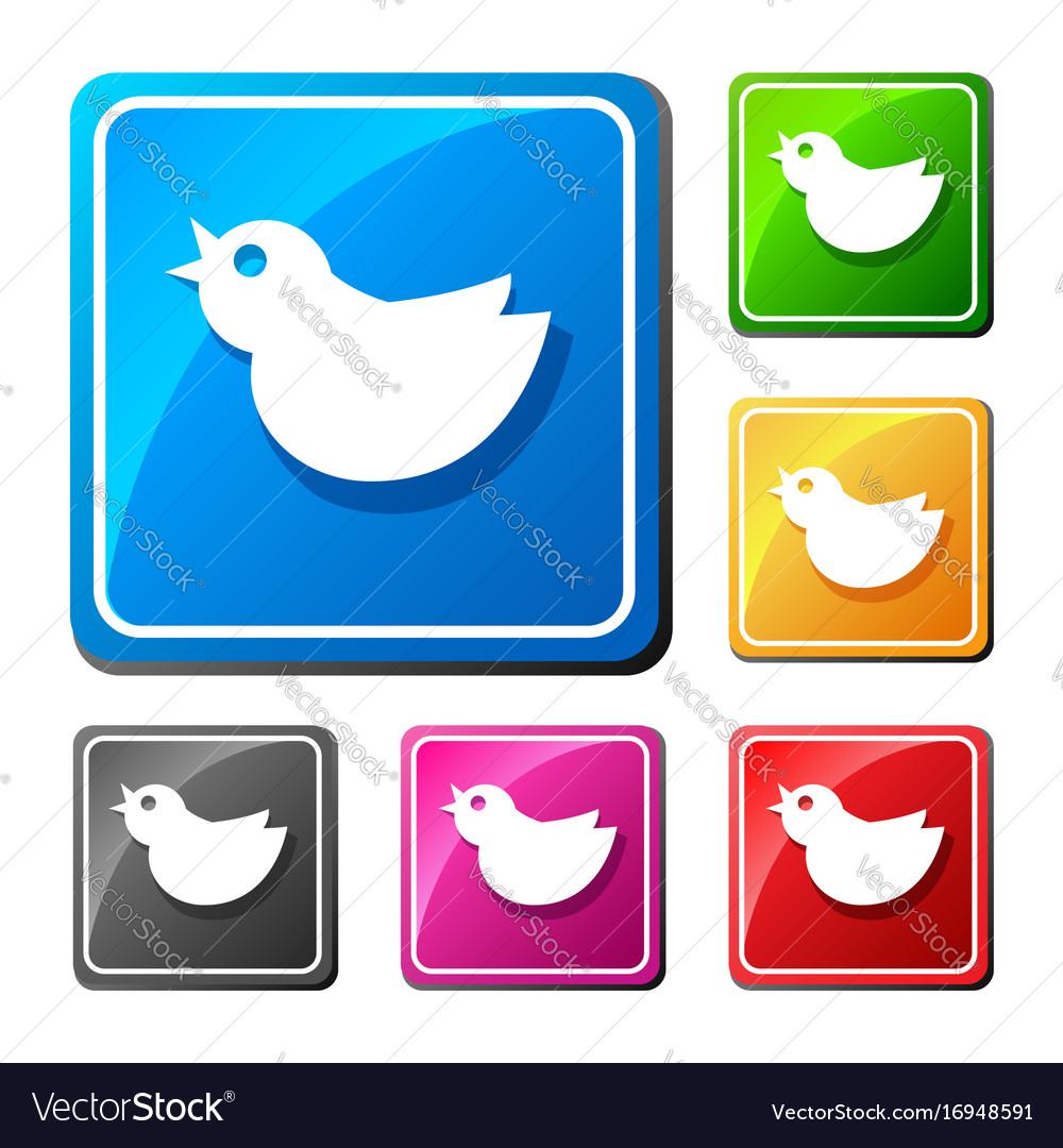 Trendy round blue twitter bird social media web