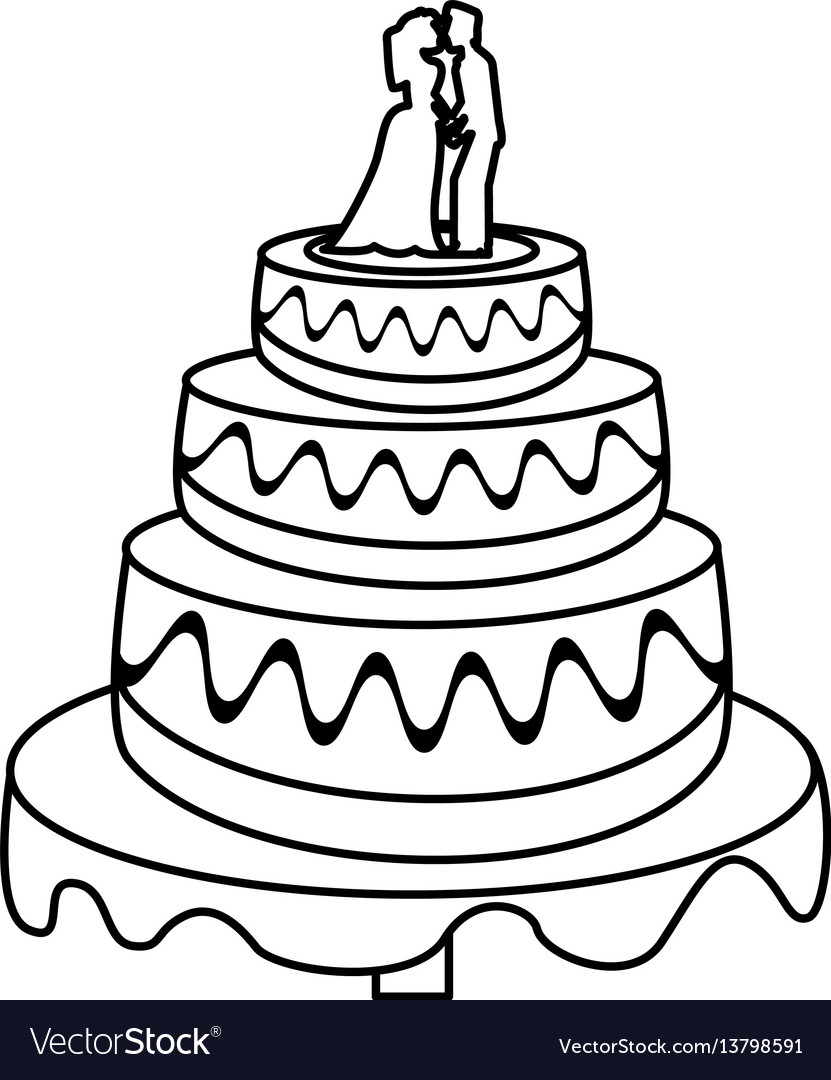 Wedding cake couple sweet outline