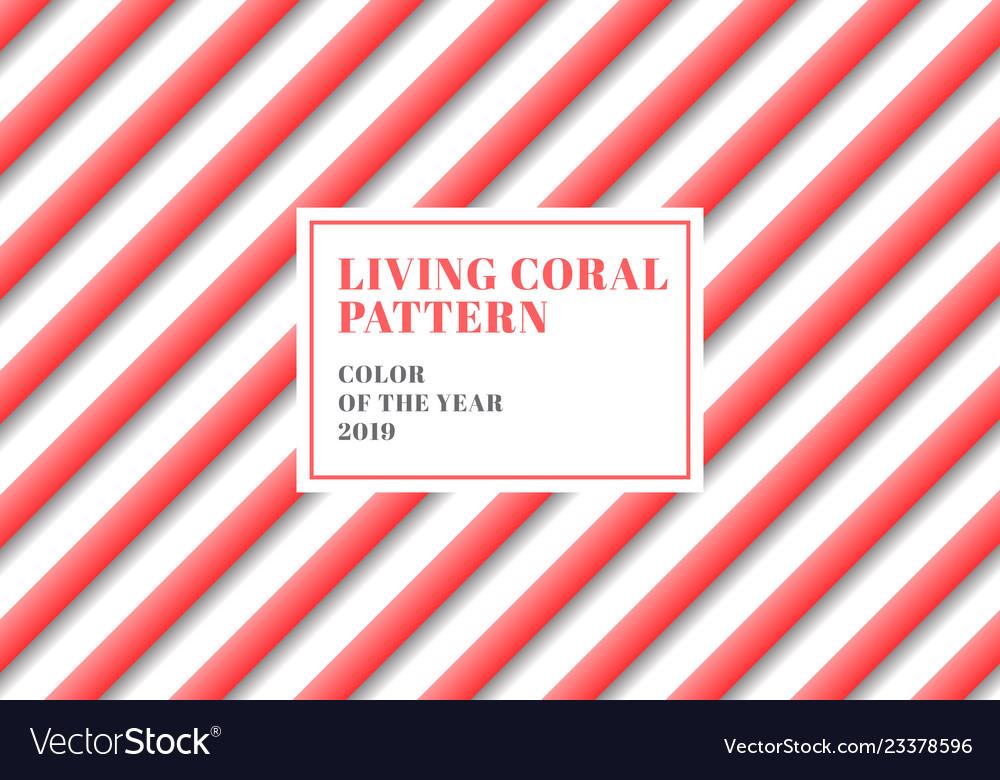 3d stripe lines diagonal pattern living coral