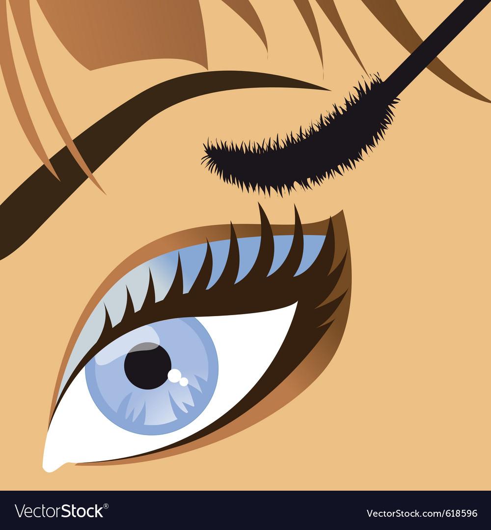 Beauty close up of a beautiful female eye mascara