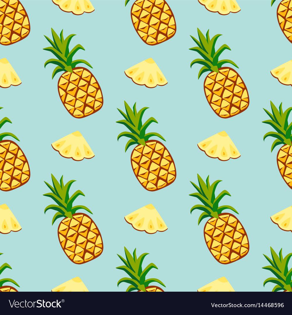 Cartoon fresh pineapple fruits in flat style