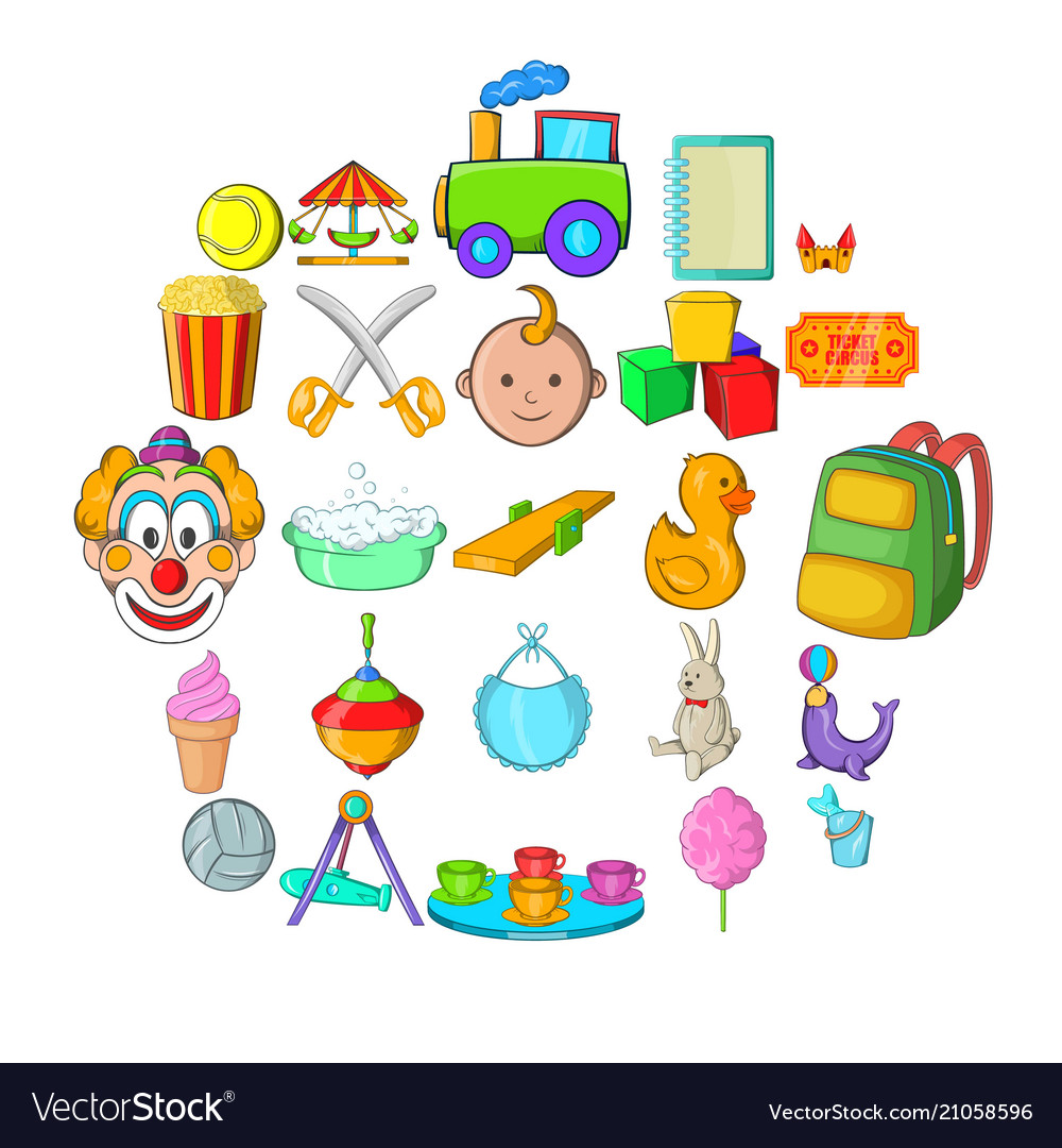 Children activity icons set cartoon style