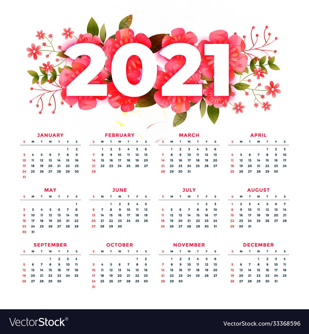 2021 Calendar Design Flower style 2021 modern calendar stylish design Vector Image
