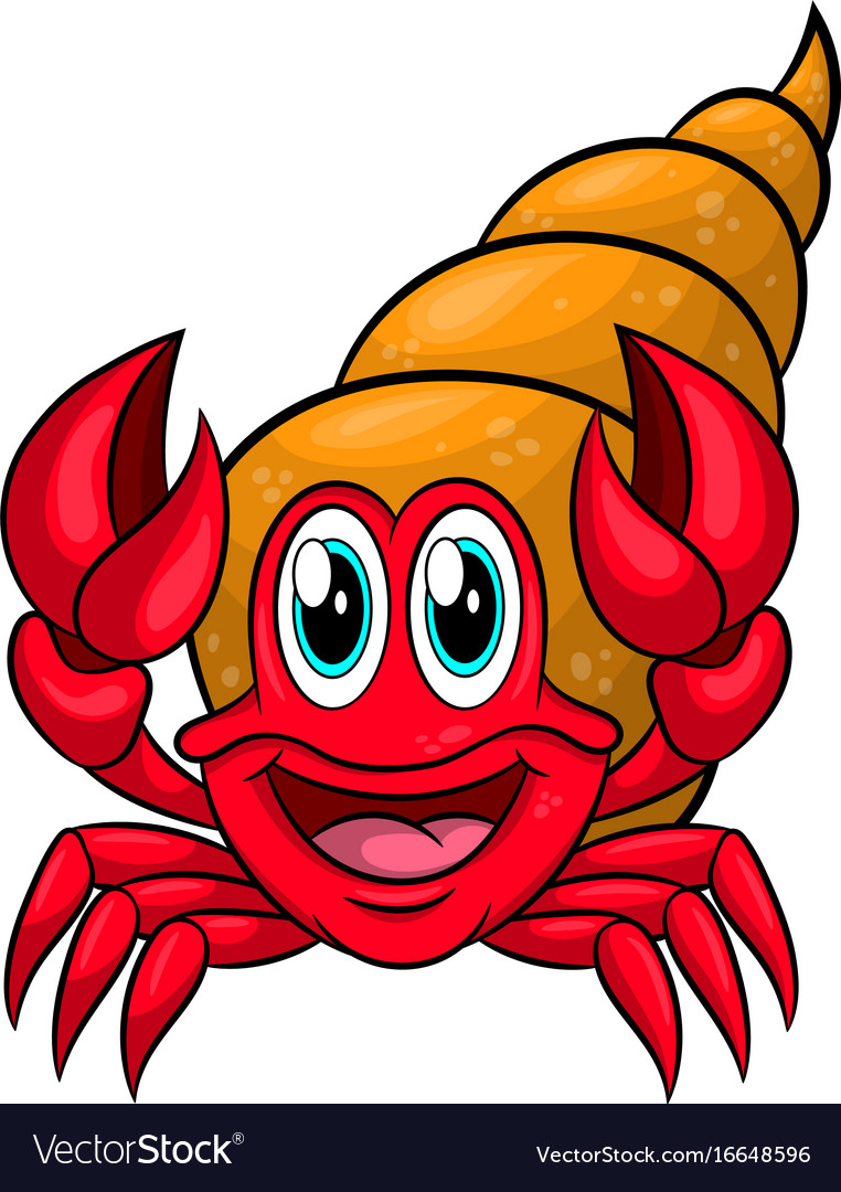Funny cartoon hermit crab