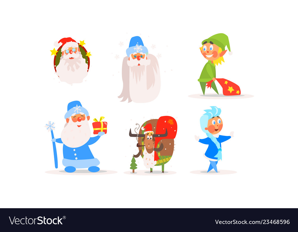 Funny christmas characters for winter holiday