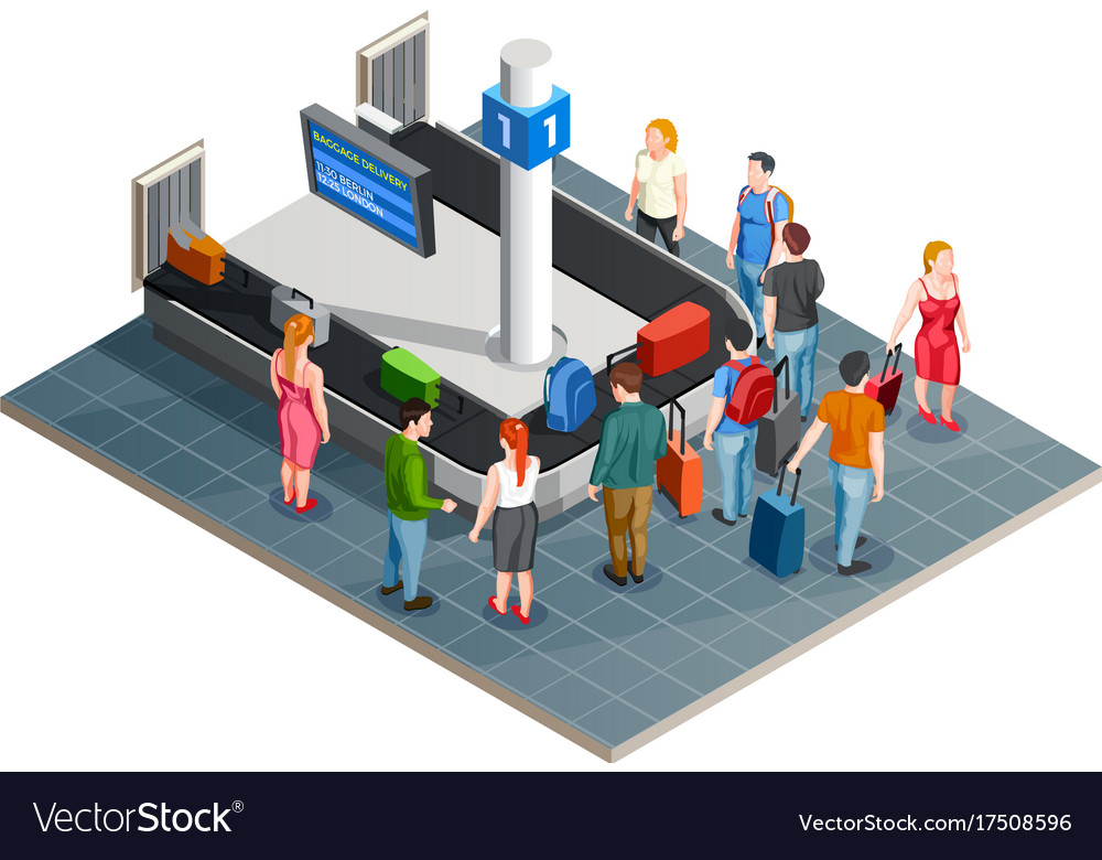 Luggage carousel isometric composition