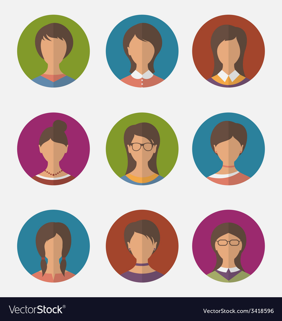 Set colorful female faces circle icons trendy flat