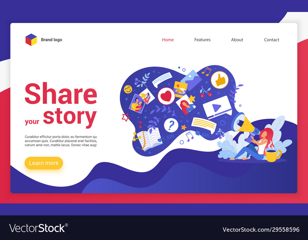 Share your story website landing page cartoon