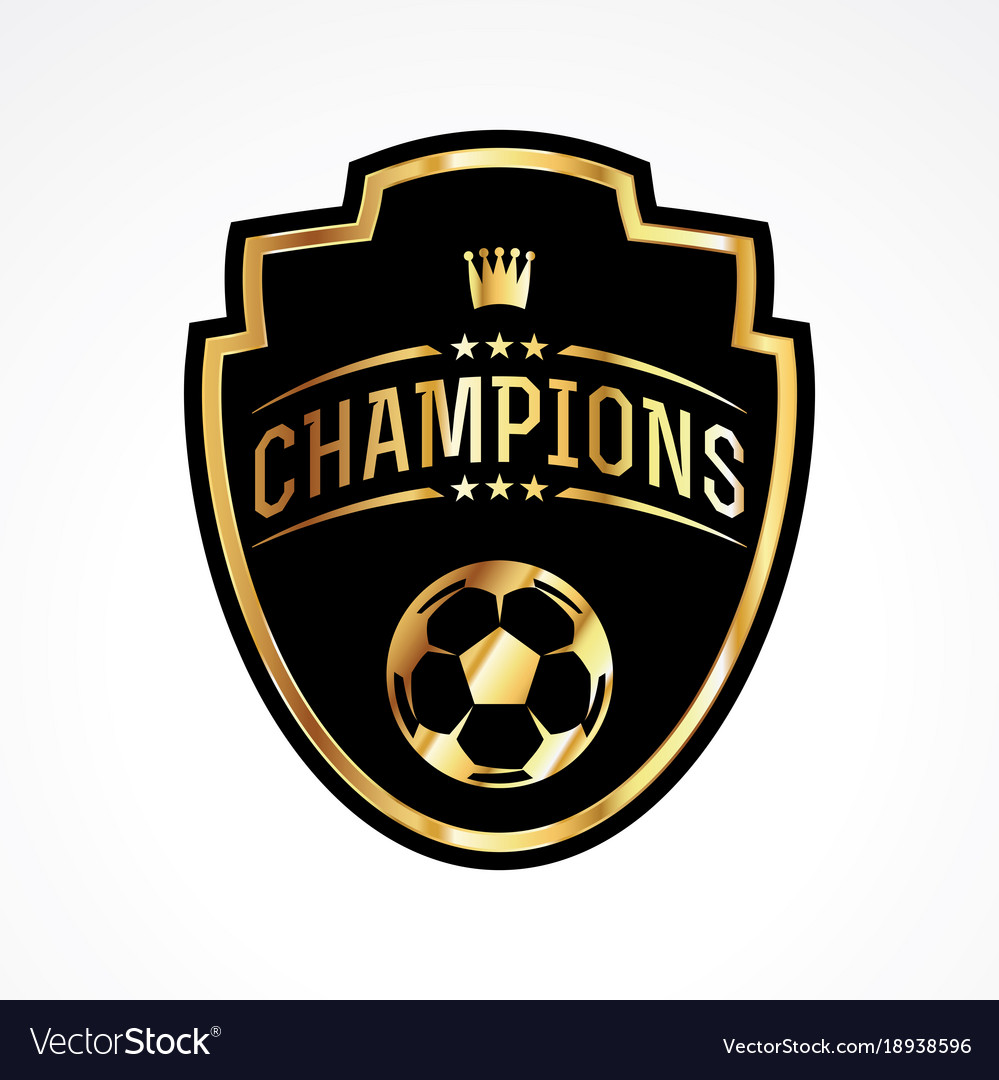 Soccer Football Champions Badge Emblem Royalty Free Vector