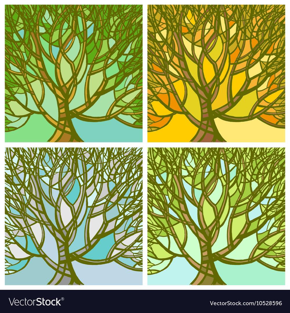 Stylized abstract seasons tree vector image