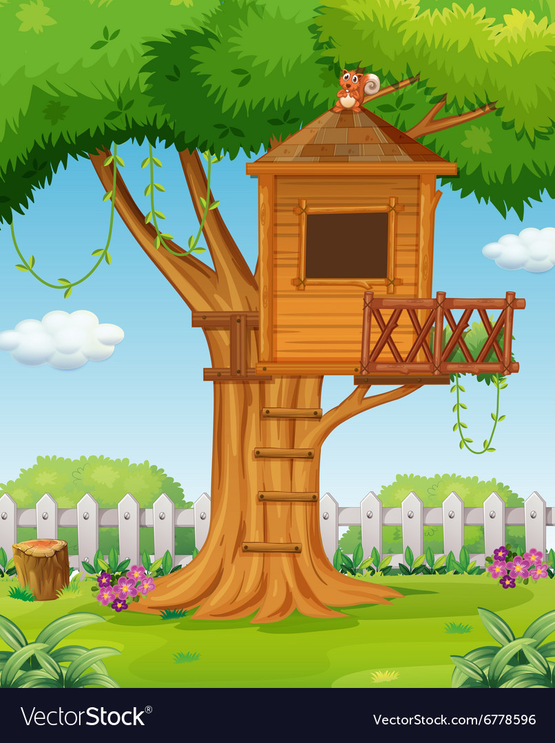 Treehouse In The Garden Royalty Free Vector Image