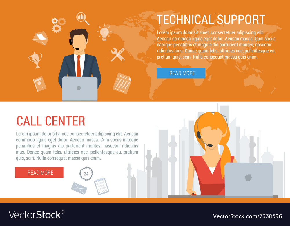 Two banners technical support flat style vector image