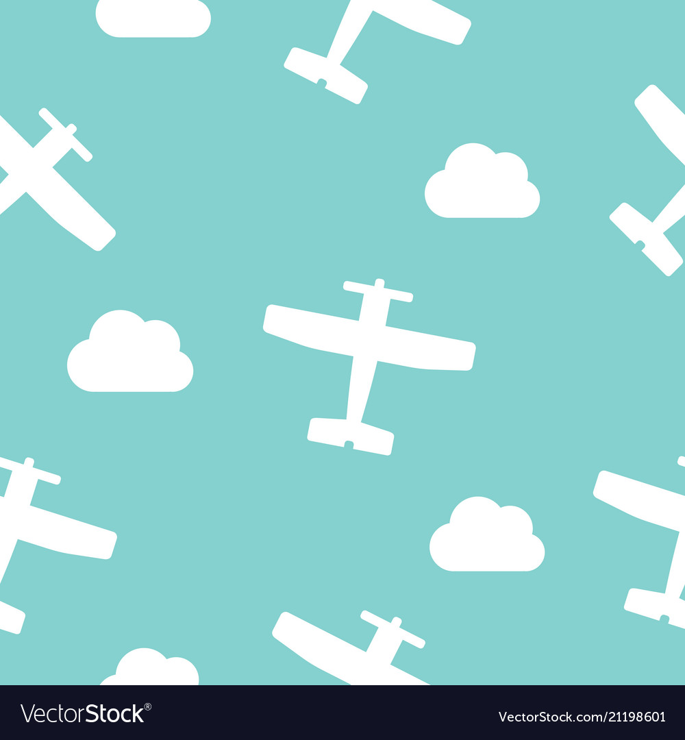 Airplanes and clouds seamless pattern for