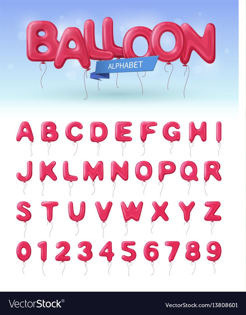 Balloon alphabet realistic icon set