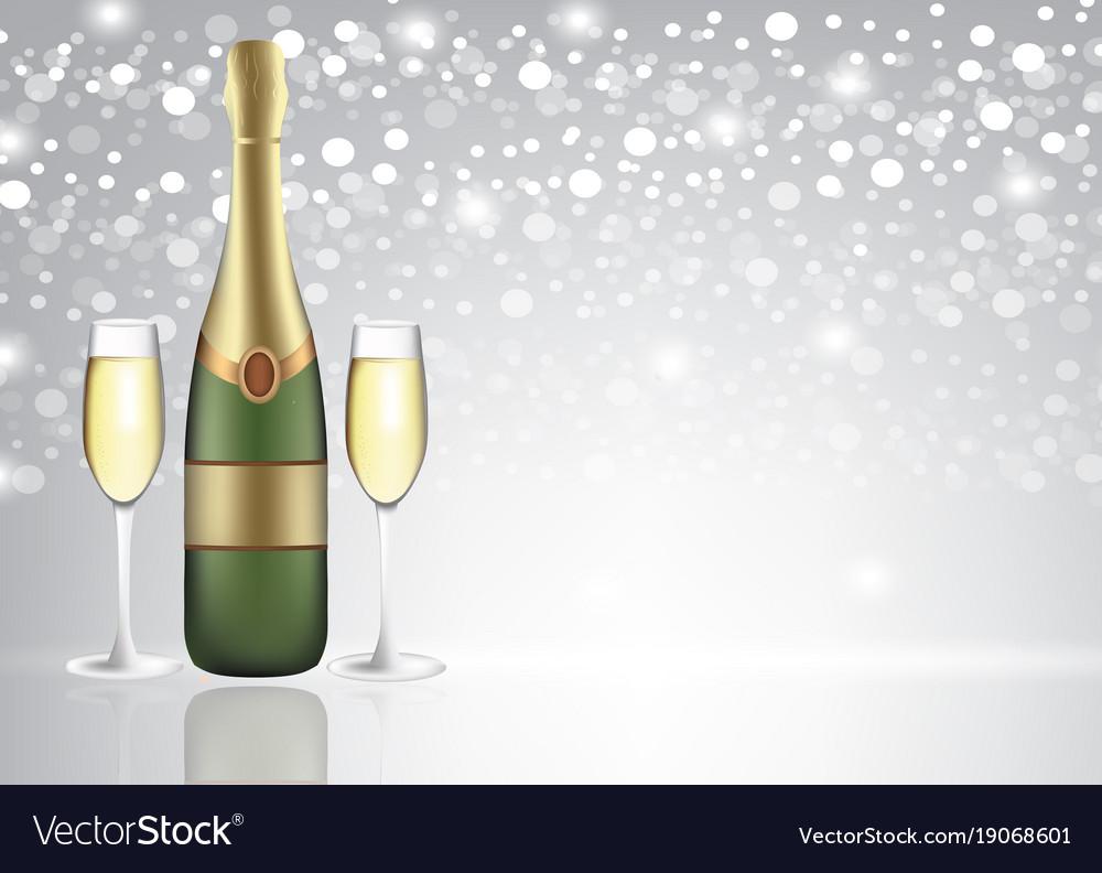 Champagne glasses on blurred background