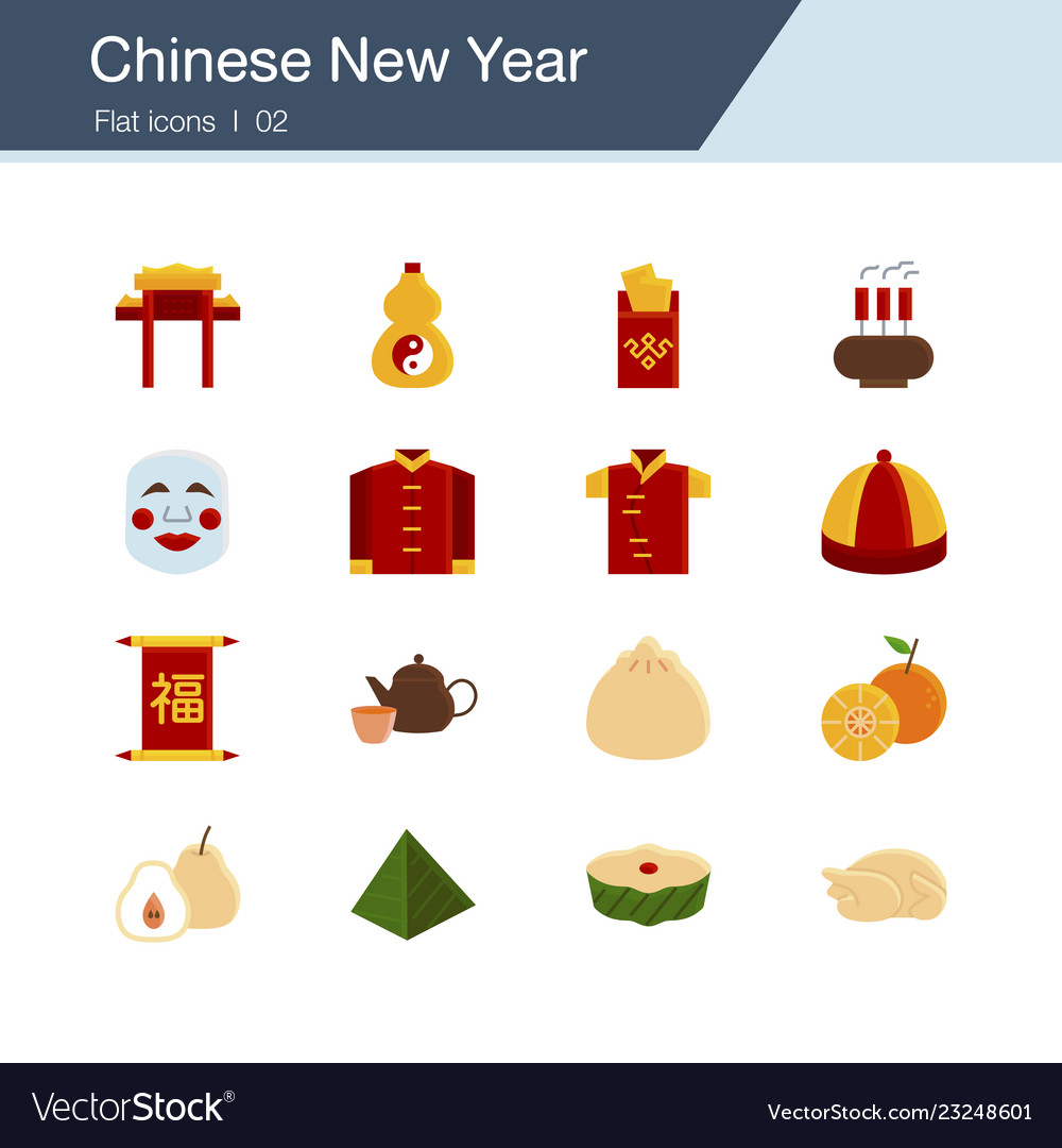 Chinese new year icons flat design for