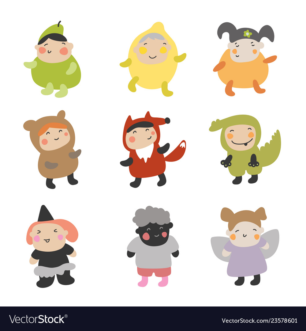 Cute kids character set of
