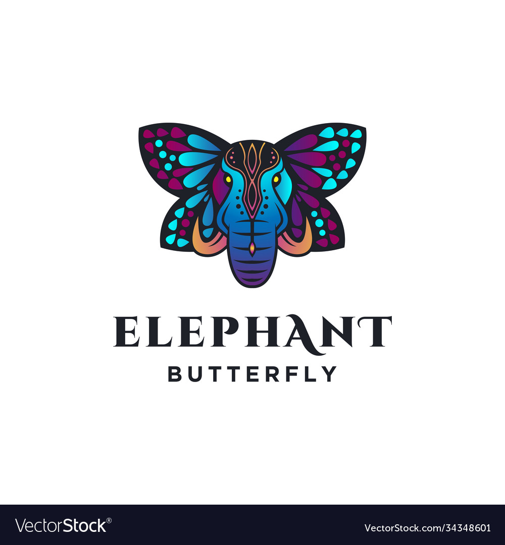 Ethnic elephant with butterfly wing logo template