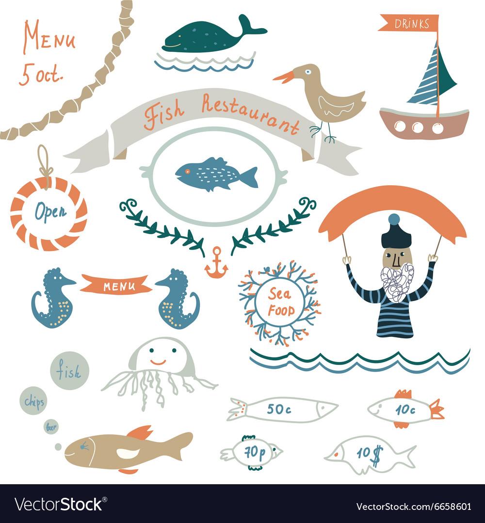 Fish restaurant invitation or menu elements