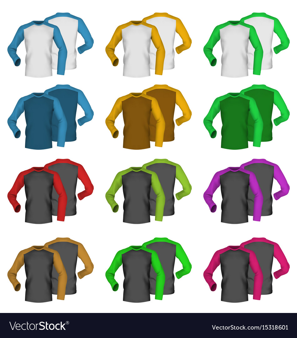 Long sleeve blank two colored t-shirt template Vector Image e72ceb4db4a