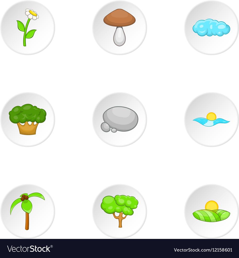 Nature icons set cartoon style