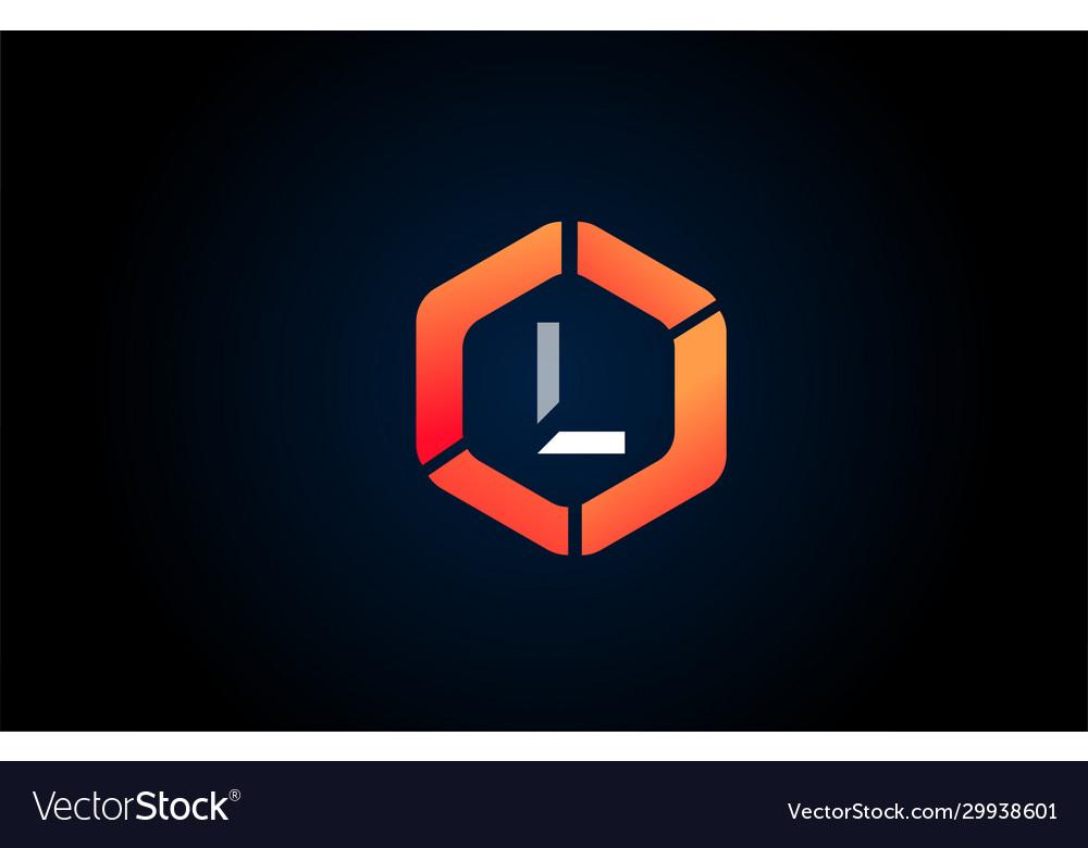 Orange white polygon l letter alphabet logo