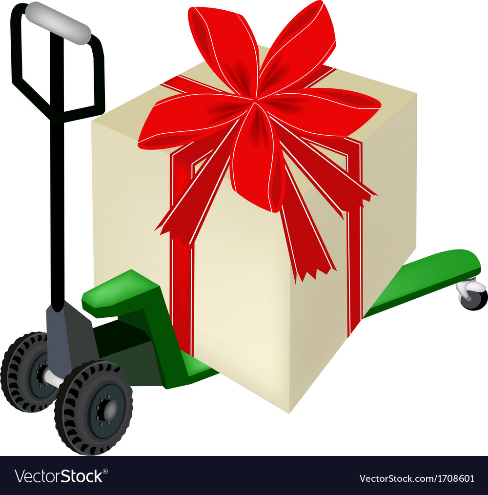pallet truck loading a big gift box royalty free vector