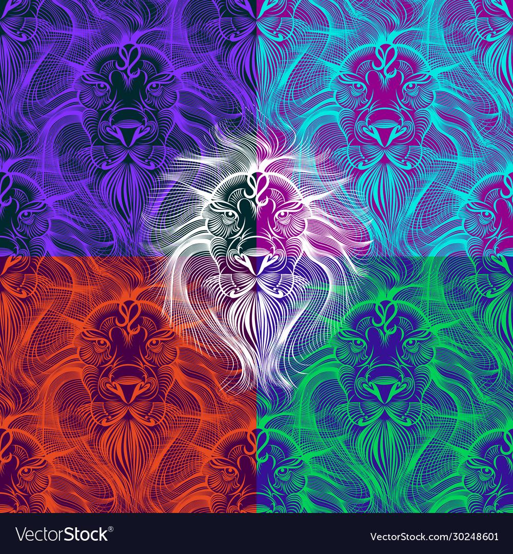 Pop art lion linear seamless pattern