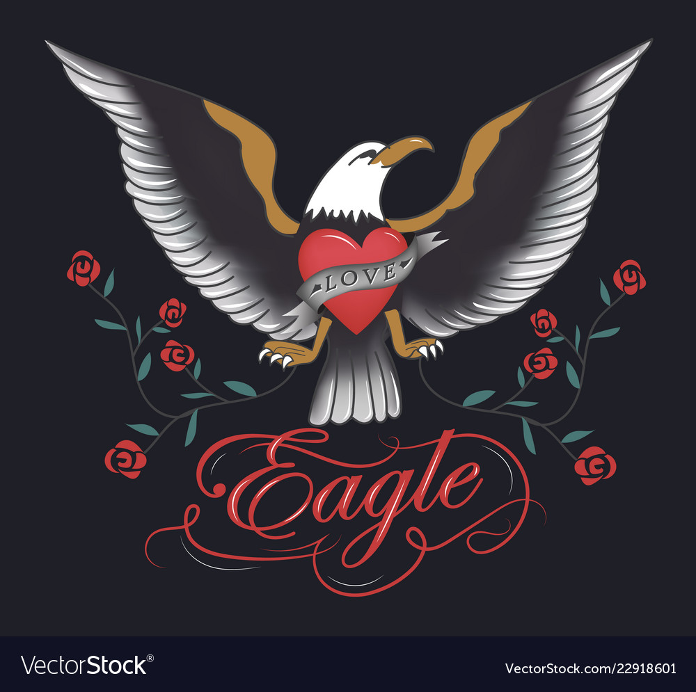 Vintage eagle tattoo hand drawn