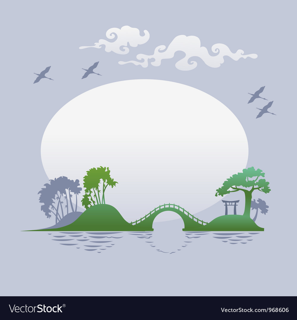 Abstract asian landscape - morning vector image