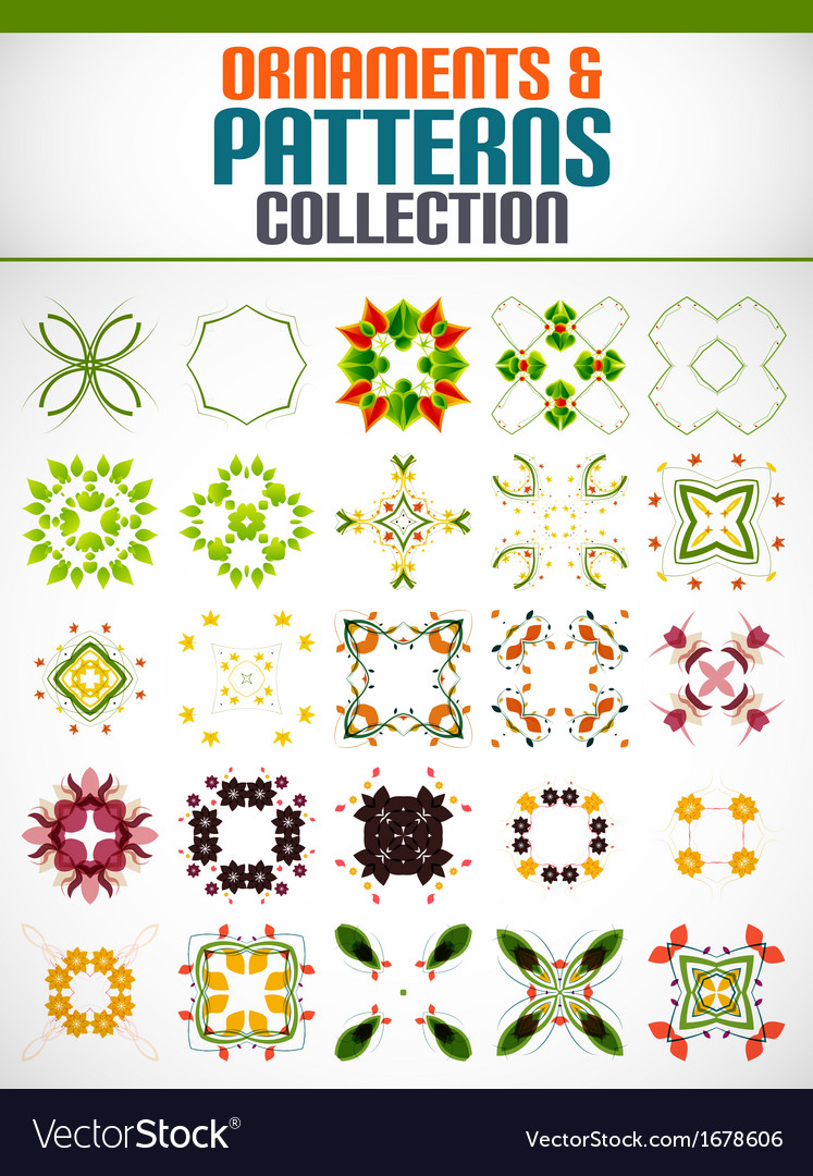 Abstract floral patterns shapes set for design