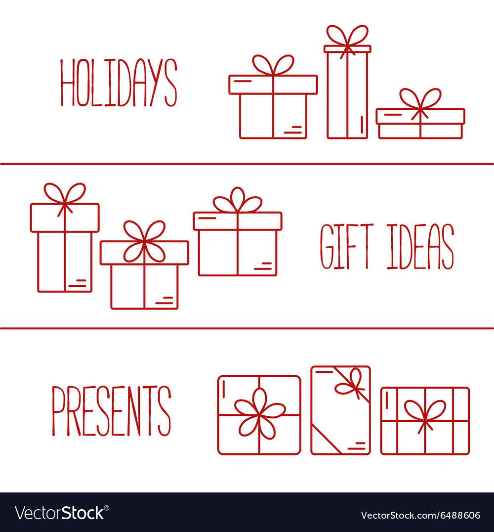 Banners with thin line icons of gift boxes