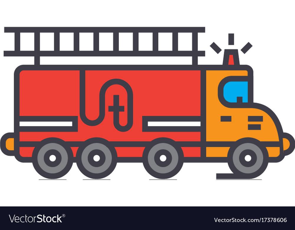 Fire engine car flat line concept