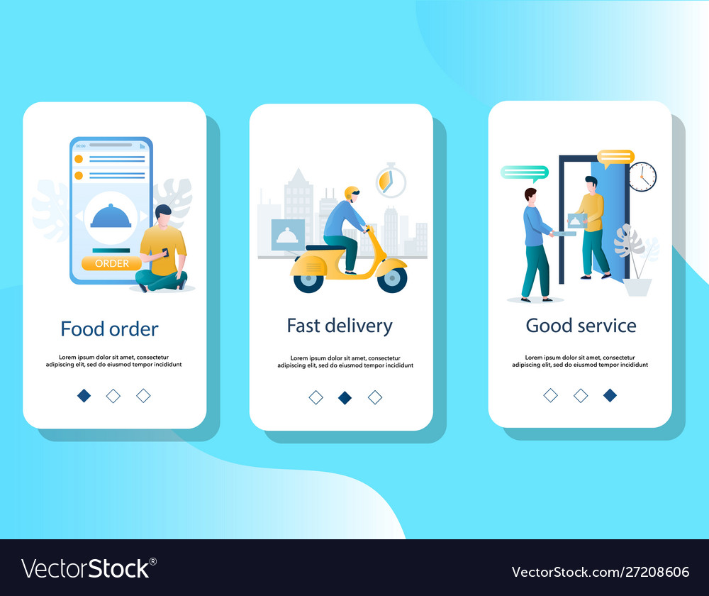 Food delivery mobile app onboarding screens