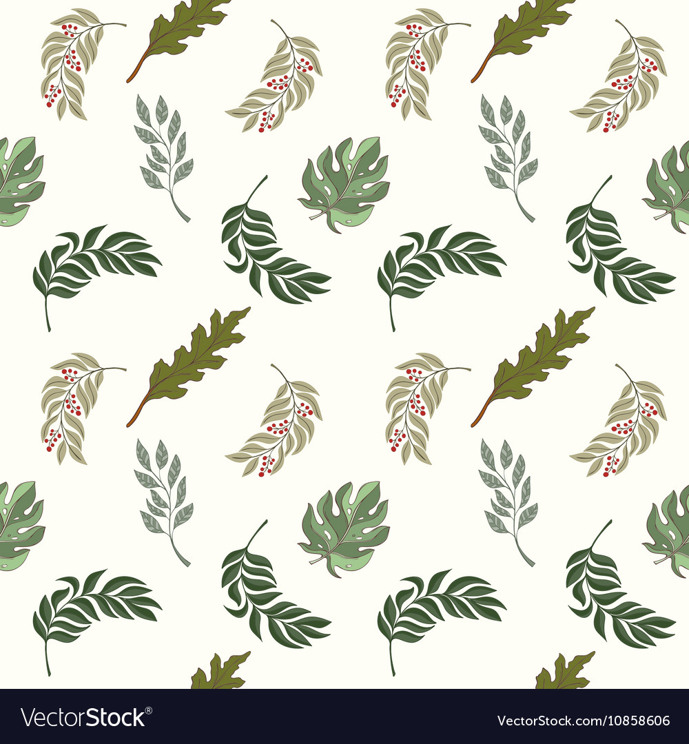Hand drawn seamless leaves pattern