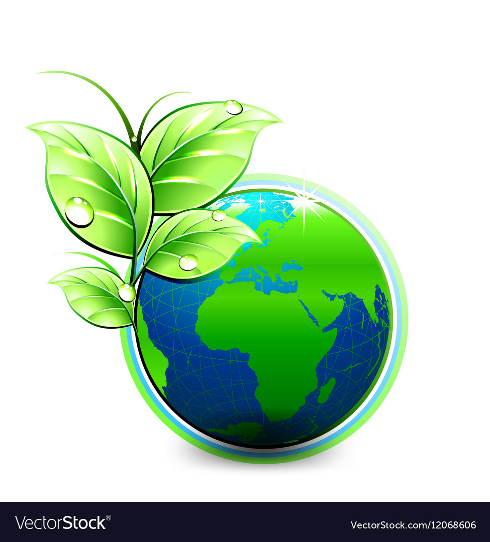 Natural blue World with green leaves and vector image