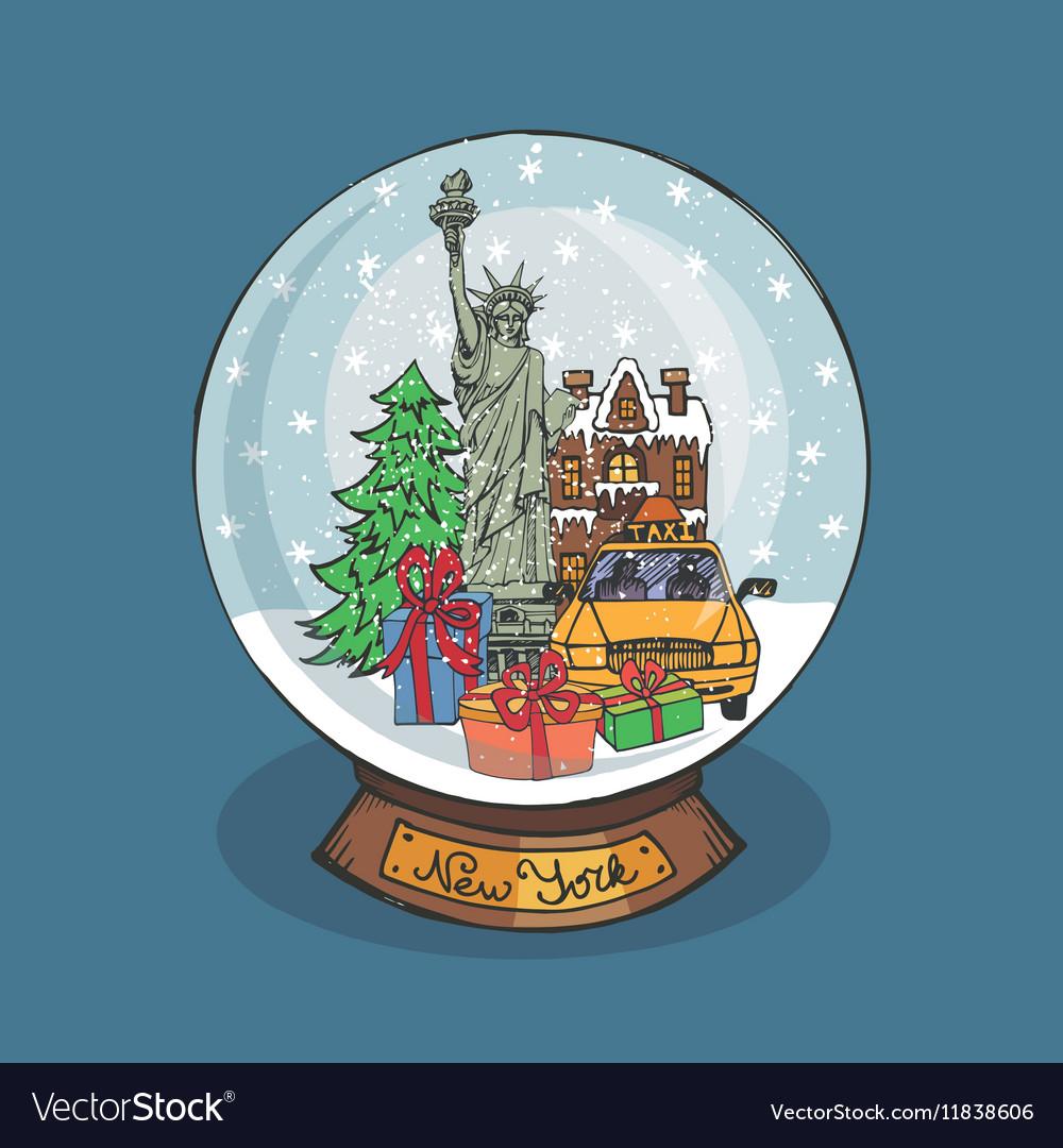 New york Christmas Snow globeDoodle city