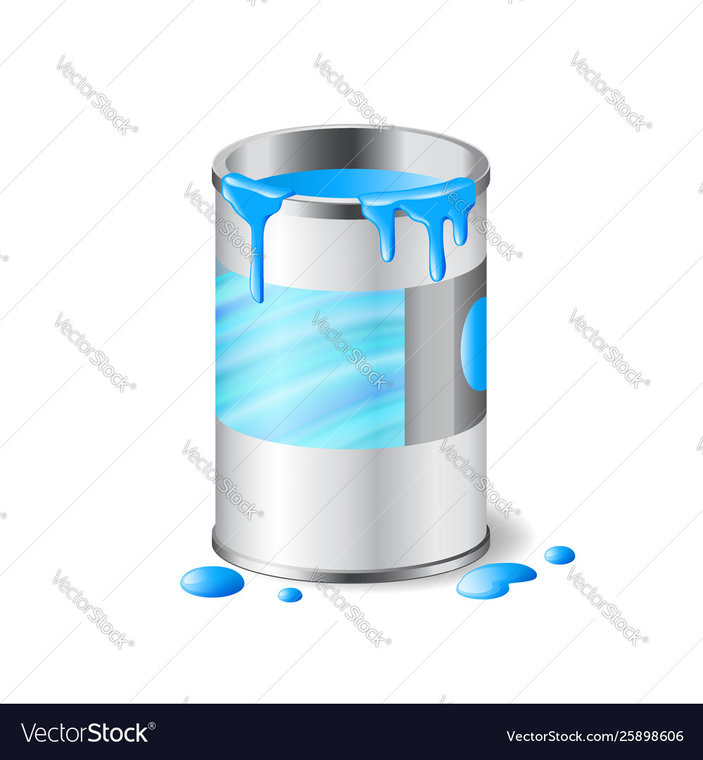 Open metal can blue paint with drops isolated