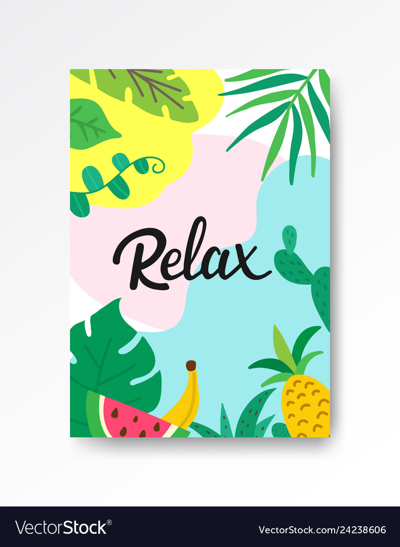 Relax tropical poster a4 hand drawn lettering