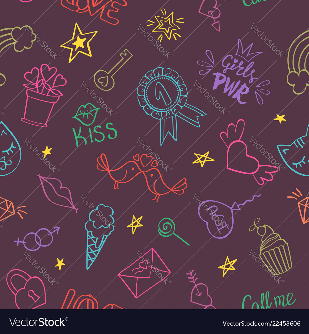 Seamless pattern with hand drawn girly doodles