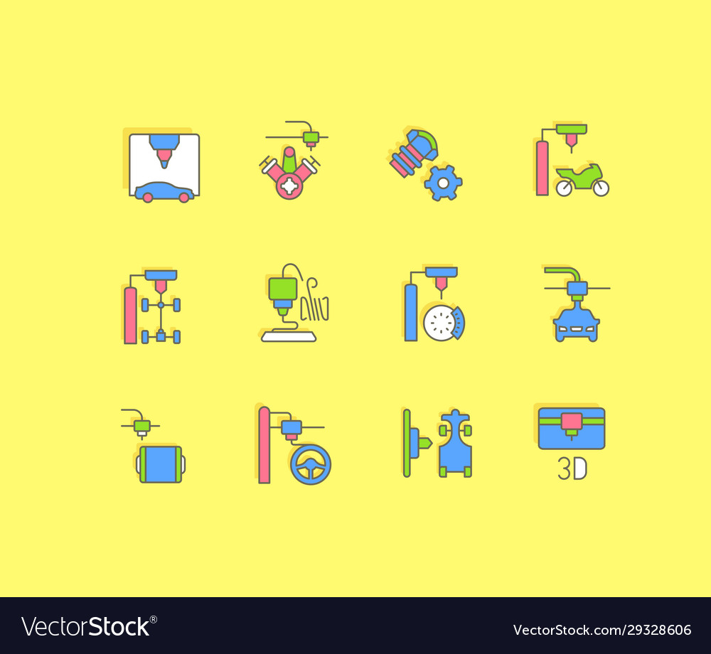 Set simple line icons 3d cars printing