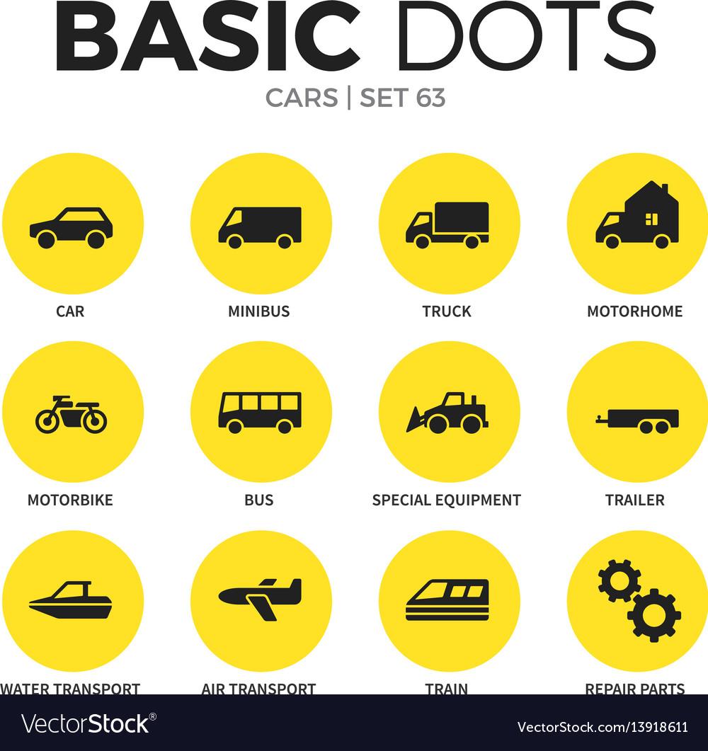 Cars flat icons set