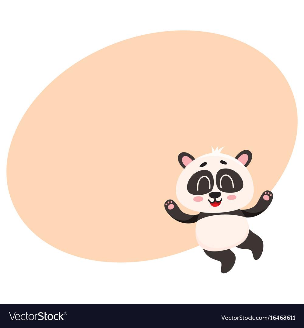 Cute and funny smiling baby panda character vector image