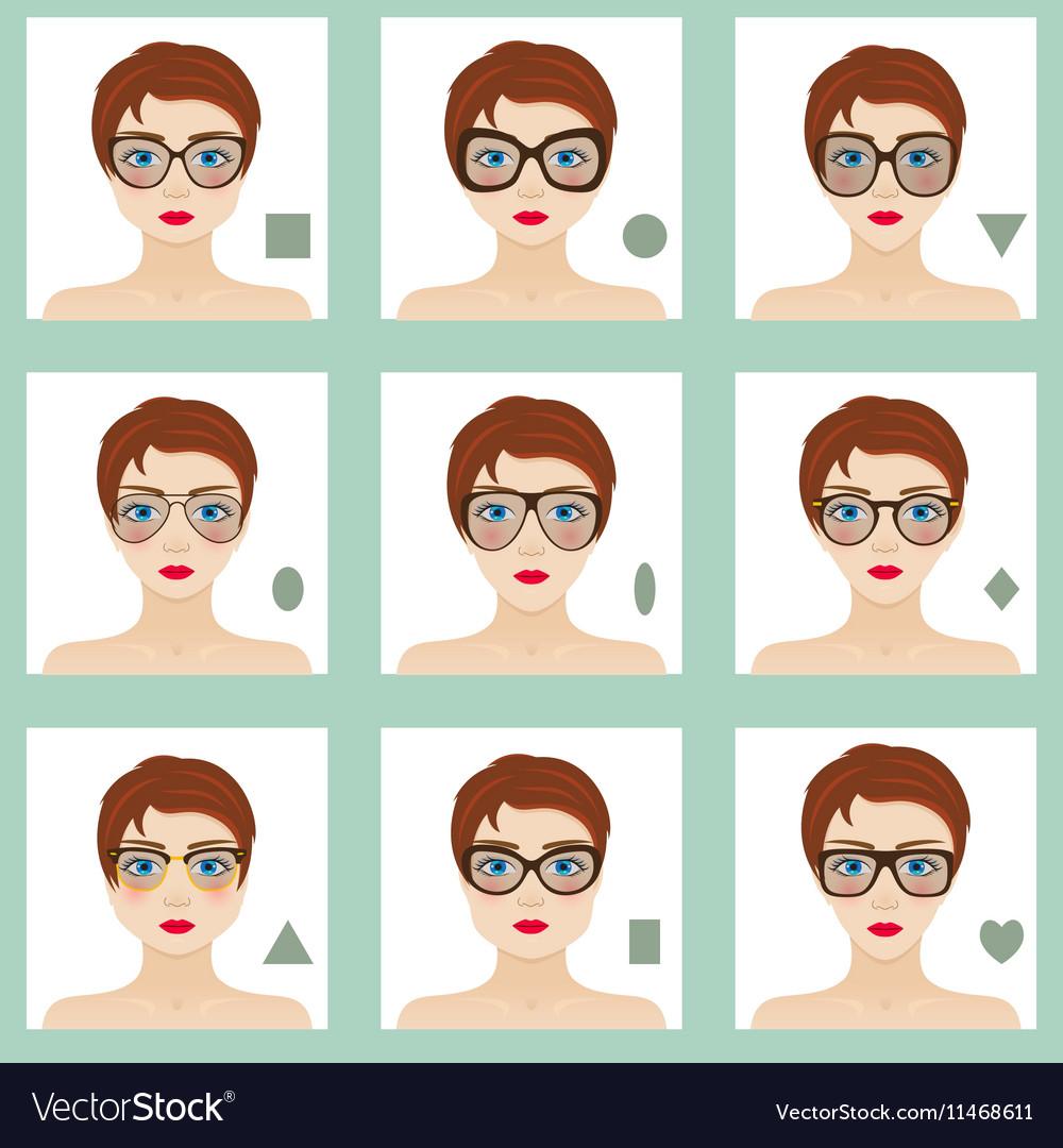 ba92f7a7e2b Female face shapes set Royalty Free Vector Image