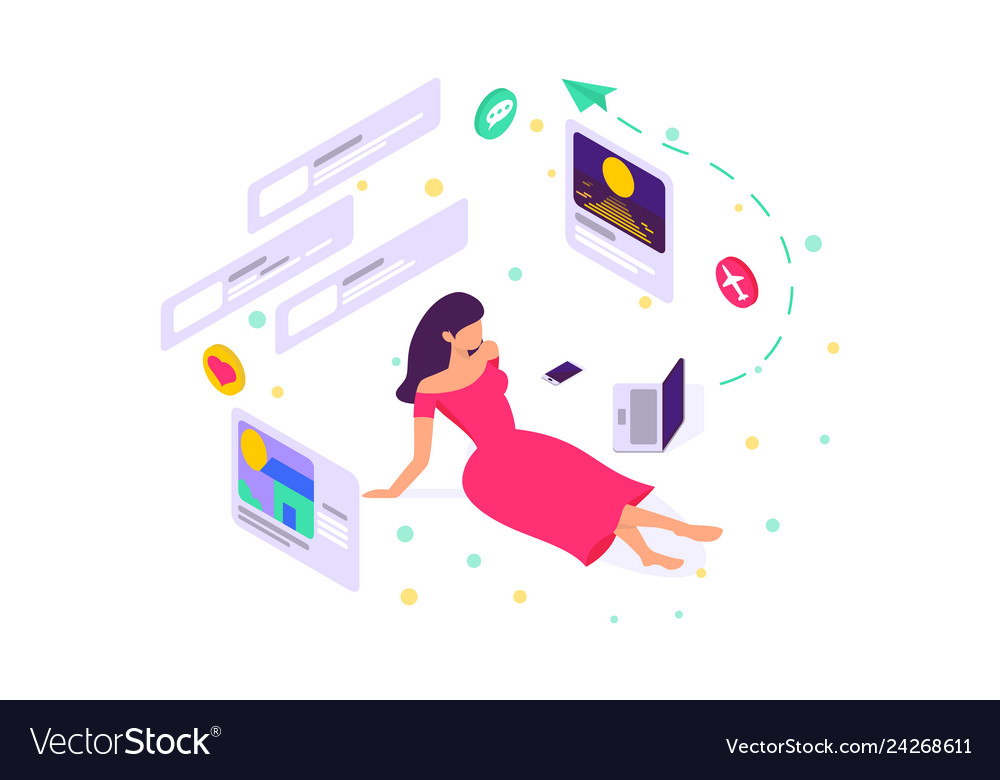 Flat girl on floor with dress laptop online site